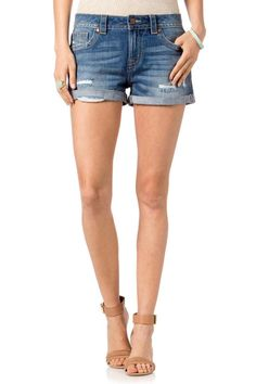 Shorts are styled with cuffed hem distressing fading whiskering and minimal hardware.If you want a slightly less boyfriend fit with minimal slouch size down one size. We recommend if you like a fitted appearance and fit size down one size. Machine wash cold inside out hang dry.  Front Rise: 9  ; Back Rise: 14. Inseam: 2  With Cuff  Distressed Boyfriend Shorts by Miss Me. Clothing - Shorts - Denim North Shore Boston Massachusetts