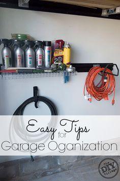 Easy Tips for Garage Organization - The DIY Village Storage Shed Kits, Garage Storage, Storage Systems, Garage Door Opener, Garage Doors, Garage Organization Tips, Garage Ideas, Organizing Life, Household Organization