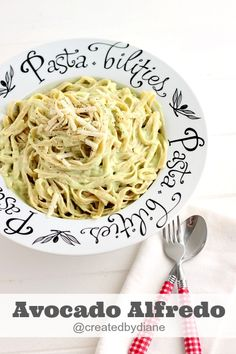 Avocado Alfredo ~ Fettucine alfredo is always so creamy and cheesy and delicious ... and adding avocado makes it even creamier and MORE delicious! ~ from Created by Diane