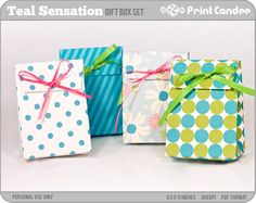 Teal Sensation - Printable Party Favor Boxes / Party Favor Set - Personal Use Only - Printable - DIY. $3.50, via Etsy.