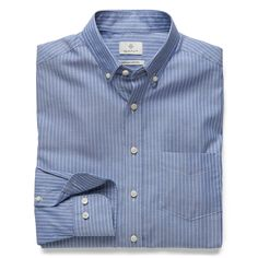 GANT Diamond G - Royal Oxford Stripe Fitted Shirt Persian Blue for Men's | Official Site