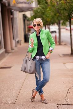 Love the green blazer with black sweater and black/white blouse...Adorbs!