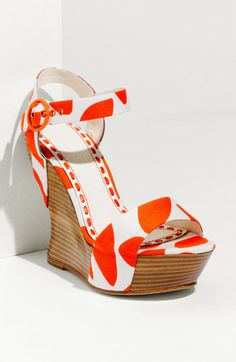 Orange Wedge Shoes | Alice + Olivia Joyce Wedge Sandal in Orange (orange/ white) - Lyst