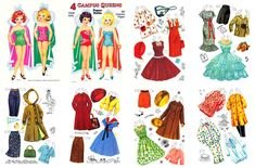 4 CAMPUS QUEENS Paper Dolls ☆ Restored by Judy M Johnson ☆ 1957 Saalfield ☆ Four girls, with the feminine full skirts of the 50s, all set for prom, homecoming, school and home activities. Six pages of costumes.