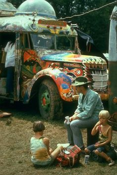 The psychedelic schoolbus belonging to writer Ken Kesey and the Merry Pranksters, during the Woodstock Music Art Fest in August 1969. (Phot...