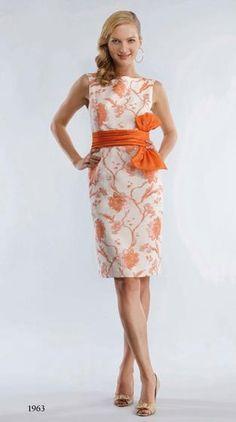 Bigio white and orange brocade dress. Perfect summer wedding attire.