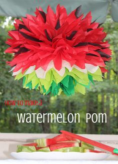 How to Make A Watermelon Tissue Paper Pom - PomAdore Watermelon Decor, Baby Shower Watermelon, Watermelon Birthday Parties, Baby Birthday, First Birthday Parties, Birthday Party Themes, First Birthdays, Birthday Ideas, Green Watermelon