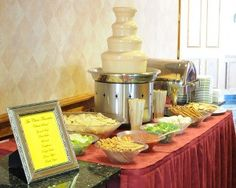Chocolate Fountains have been all the rage for the past few years. But a great way to mix things up is forgo the dessert option, and opt for a taco and nacho bar with a cheese fountain!  Great idea for a cocktails-only reception, late-night snack bar, or even for the after party! If you do go with a late-night snack bar, just make sure there's plenty of time between dessert and this option for people to dance and really work up an appetite!