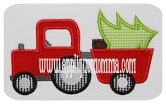 Christmas Tractor Applique Sizes: NOT fit on Janome Machine) Satin Stitch, Zig-Zag Stitch Machine Embroidery Patterns, Applique Patterns, Applique Quilts, Embroidery Files, Applique Designs, Embroidery Applique, Quilting Designs, Applique Ideas, Quilting Patterns