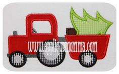 Christmas Tractor Applique Design