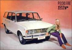 PF combi with beauty Station Wagon, Retro Cars, Vintage Cars, Car Posters, Polish Posters, Fiat 126, Car Polish, Car Advertising, Car Girls
