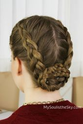 DIY Double Dutch Braid Bun - Double dutch braided bun for those days you're ready to try something new. It can be as messy as you want it to be, yet stylish Two Buns Hairstyle, Braided Bun Hairstyles, Dance Hairstyles, Braided Updo, Hairstyle Short, Ponytail Haircut, Wedding Hairstyles, Formal Hairstyles, Wedding Updo