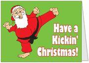 Kicking Santa Christmas Cards from Martial Arts Party Store.