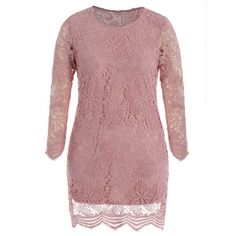 Plus Size Lace Prom Dress With Long Sleeves Cheap Dresses, Prom Dresses, Plus Size Dresses, Long Sleeve, Lace, Sweaters, Pink, Stuff To Buy, Shopping