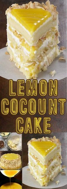 Lemon Coconut Cake Recipe for Lemon Coconut Cake – Tangy lemon filling between layers of tender white cake. Top it all off with a rich coconut-cream cheese frosting. It's no wonder some people think that it is one of the best cakes they've ever eaten. Lemon Desserts, Lemon Recipes, Just Desserts, Delicious Desserts, Cake Recipes, Dessert Recipes, Yummy Food, Frosting Recipes, Lemon Cakes