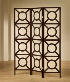 3 Panel Espresso Finish Wood Frame Room Divider Shoji Screen With Circles  Design. Measures 3