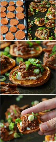 BBQ Pulled Pork Sweet Potato Bites are sure to be a family favorite. Topped with creamy whipped goat cheese and moist BBQ Pulled Pork with a few secret ingredients - you'll be addicted after one! Sweet Potatoe Bites, Sweet Potato Slices, Potato Bites, Pork Recipes, Sweet Recipes, Cooking Recipes, Cooking Tips, Easy Appetizer Recipes, Easy Healthy Recipes