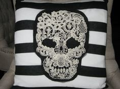 SKULL Throw Pillow Designer Style. by ThePastureRoad on Etsy