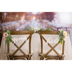 bride and groom chair signs #ChairWedding