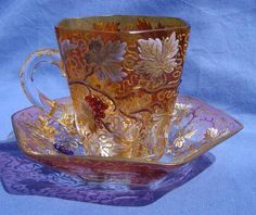 Moser Enameled Amber Cup & Saucer Circa 1900-1920s