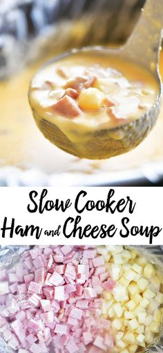 A hearty bowl of Slow Cooker Ham and Cheese Soup is the perfect way to warm up! Put it in the crockpot in the morning on a busy weekday for an easy dinner. #soup #crockpot #slowcooker #ham #cheese #comfortfood #dinner #recipes