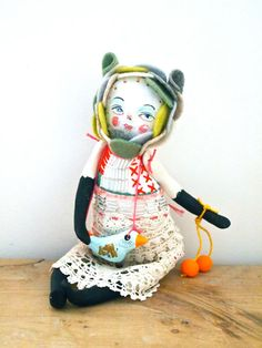 Jess Quinn - Cloth and clay art doll display hand painted