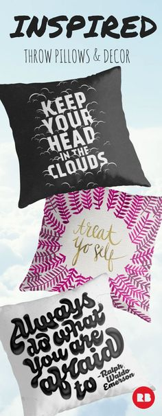 Let your decor inspire your dreams with typographic pillows. These artist-designed throw pillows are the perfect way to motivate a morning.