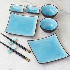 Aqua Crackle Sushi Set - Dinnerware Sets - Cost Plus W . Sake Sushi, Sushi Dishes, Vase Deco, Sushi Plate, Sushi Set, Japanese Dishes, Dinnerware Sets, Vintage Dinnerware, Asian Decor