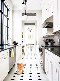 *****classic black and white galley kitchen in NYC apt ... love the mix of materials, great faucet and sink, hardware, could do wood floor for warmth, narrow shelf over stove, can add colour w/ accessories