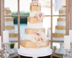 Elegant Four Tiered Cake With Flowers