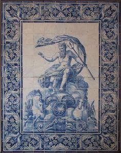 Antique exquisite hand made Tile mural 'Neptune' Tile Murals, Tile Art, Wall Tile, Antique Tiles, Vintage Tile, Delft Tiles, Mosaic Tiles, Dale Chihuly, Tile Panels