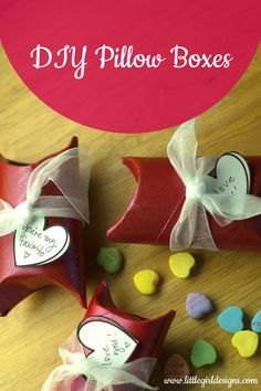 How to make sweet little pillow boxes out of toilet paper rolls to hold tiny treasures and candy @littlegirldesigns.com. #gifts #toiletpaperroll