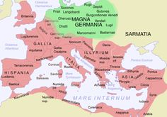 IThe Roman Empire in 116 AD and Germania Magna, with some Germanic tribes mentioned by Tacitus in CE 98 (quick sketch, should be updated with greater accuracy).