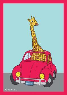 Giraffe in the car by Federico Monzani