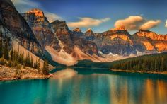 Moraine Lake, Alberta, Canada – Amazing Pictures - Amazing Travel Pictures with Maps for All Around the World Banff National Park Canada, National Parks, Lago Moraine, Beautiful World, Beautiful Places, Sunrise Wallpaper, Sunrise Lake, Beautiful Landscapes, Beautiful Waterfalls