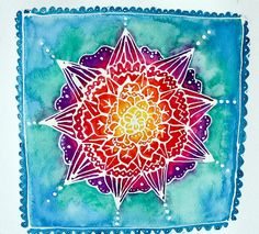 Mandala by Stephanie Estrin Watercolor Masking Fluid, Watercolor Mandala, Mandalas Painting, Watercolor And Ink, Watercolor Paintings, Watercolors, Watercolor Journal, Watercolor Design, Kunstjournal Inspiration