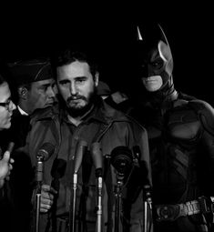 """Fidel Castro with Batman announcing the """"Liberacion"""" of Cuba. Batman was there two years later for the """"Bay of Pigs"""". Many believe that Ché was The Dark Knight Fidel Castro, Photomontage, World History, World War, Hulk, Superman, Batman Superhero, Superhero Villains, Cindy Sherman"""