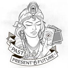 Fortune teller #gypsy #tattooflash