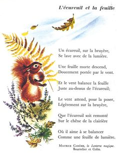 Maurice Carême - L'écureuil et la feuille (CP-CE1) Read In French, How To Speak French, Learn French, French Language Lessons, French Language Learning, French Lessons, French Poems, French Phrases, French Quotes