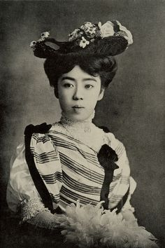Japanese woman in western clothes, circa 1900.