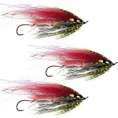 Greg Senyo Predator Scandi Fly Fishing Flies - Red Black - Steelhead Salmon - Set of 3 Flies