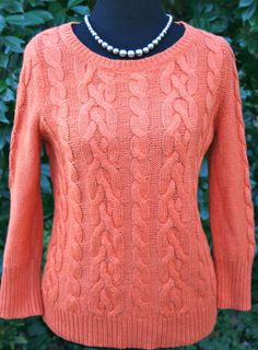 ANN-TAYLOR-LOFT-Orange-Cable-Knit-Sweater-Small