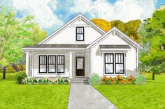 The Greenfield Cottage is offered by SDC House Plans. View more Cottage House Plans on the SDC website. House Plans One Story, Story House, Small House Plans, Small Farmhouse Plans, Small Cottage House Plans, Small Cottage Homes, Country Farmhouse, Modern Farmhouse, Cottage Floor Plans