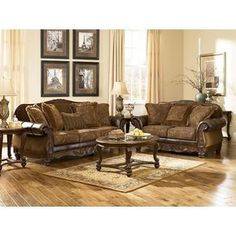 Shop Ashley Furniture Fresco Durablend Antique Living Room Set with great price, The Classy Home Furniture has the best selection of Living Room Sets to choose from Antique Living Rooms, Rustic Living Room Furniture, Living Room Interior, Furniture Sets, Home Furniture, Vintage Furniture, Furniture Websites, Furniture Online, Furniture Buyers