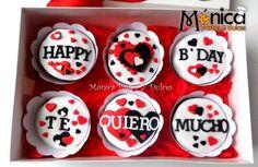 Cupcakes Amor, Fondant Cupcakes, Fun Cupcakes, Cupcake Party, Chocolate Cupcakes, Birthday Cake For Boyfriend, Happy Birthday Cupcakes, Valentines Day Cakes, Cupcake Boxes