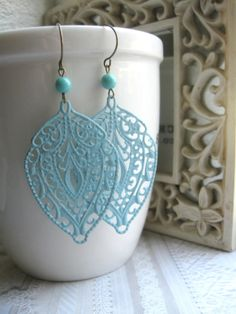 Large leaf earrings verdigris patina  filigree by botanicalbird