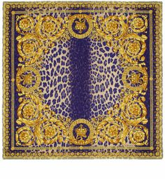 VERSACE Purple Gold And Blue Leopard Baroque Print Silk Scarf