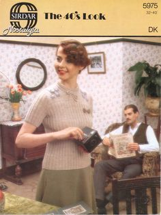 This is another vintage pattern of one era representing another, though for the first time it clearly calls it 1940s nostalgia. I think the man in the background looks rather menacing, as if he int…