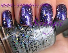 OPI Servin Up Sparkle over Grape.  I would call it Midnight Stars or something!  Pretty.