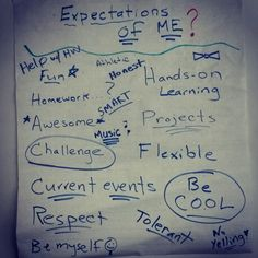 Asked my students what they expected of me as their new teacher.